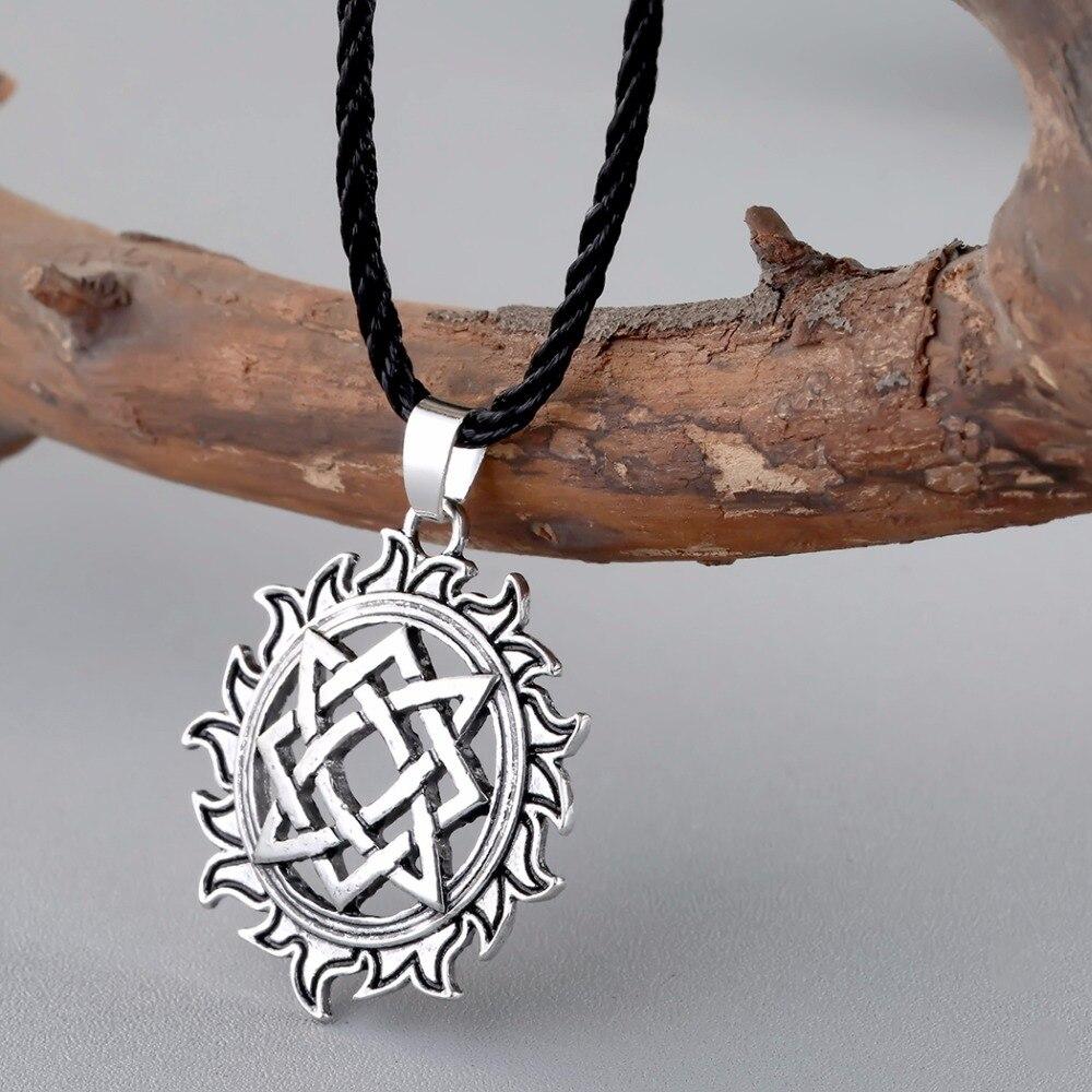 CHENGXUN Viking solaire amulette pendentif collier nordique charme slave étoile Lada signe pendentifs Talisman meilleur ami collier bijoux