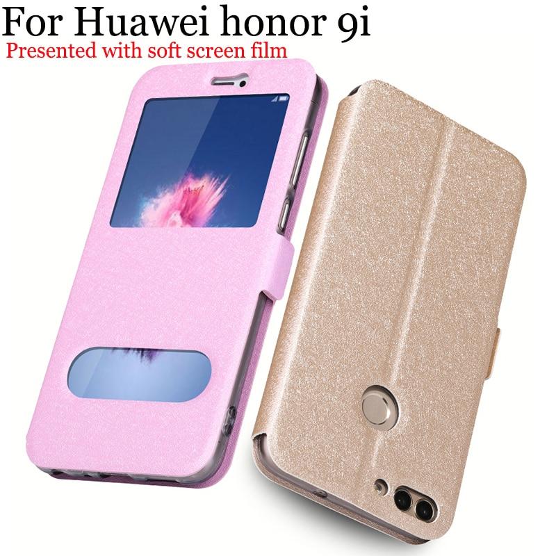 Janela aberta Para casos Huawei honor 9 i caso PU LEATHER Flip capa skin Para Huawei honor 9 eu telefono ao caso honor 9i shell fundas capa