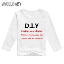 Garçons/filles bricolage vêtements bébé personnalisé votre propre conception T-shirt enfants personnalisé impression T-shirt à manches longues, Contact avec le vendeur dabord