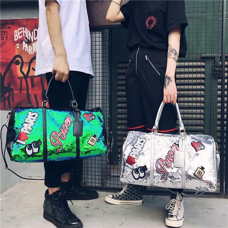 Frauen Pailletten Reisetasche männer Große Kapazität Wochenende Taschen Kleidung Tragen Auf Duffle Beutel Gepäck Koffer Veranstalter Getriebe Handtasche