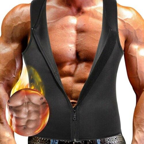 Men Summer zipper Slim Shirt Body Shaper Slimming Tummy Belly Tank Tops Corset Shapewear Vest Sports Gym