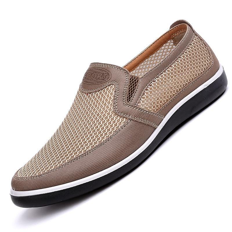 Nova listagem de verão respirável malha sapatos masculinos leves apartamentos moda casual sapatos masculinos marca designer mocassins bege