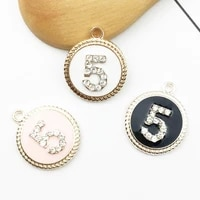 10pcslot oil drop round shape enamel charms pendant rhinestone number 5 charms diy bracelets floating jewelry accessories yz286