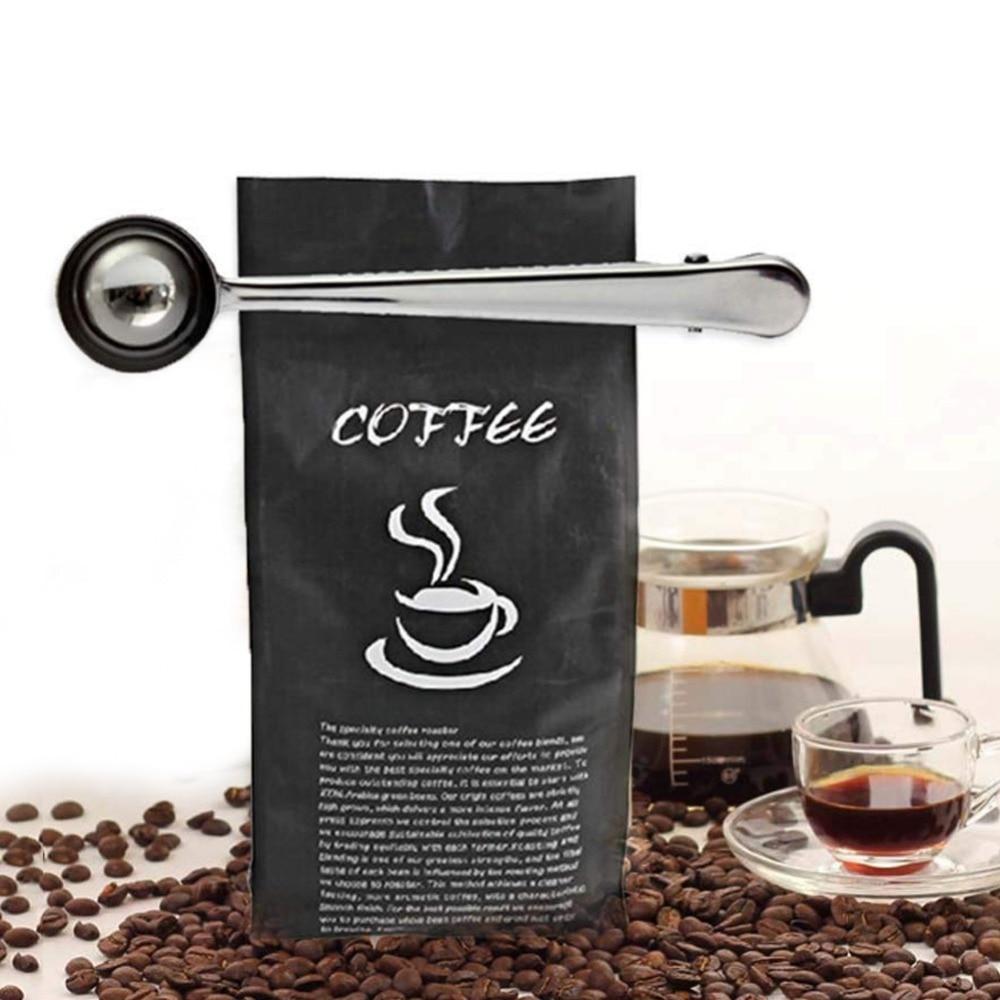 1PC Multifunctional Stainless Steel Coffee Scoop Spoon With Bag Clip Sealing Tea Measuring Coffee Scoop Kitchen Coffee Tools