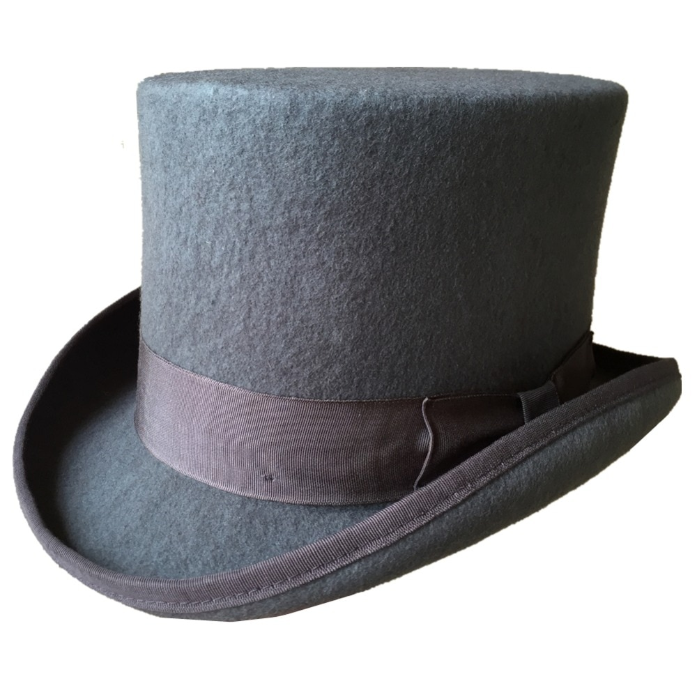 "13,5 cm 5 1/4 ""gris Woo fieltro bajo sombrero corto/boda moda Top gorro cilíndrico/sombrero de chimenea"