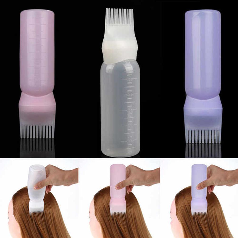 60ml 3 colores botella de champú de plástico aceite peine aplicador botellas gran capacidad dispensar coloración del cabello en salón accesorios de estilo