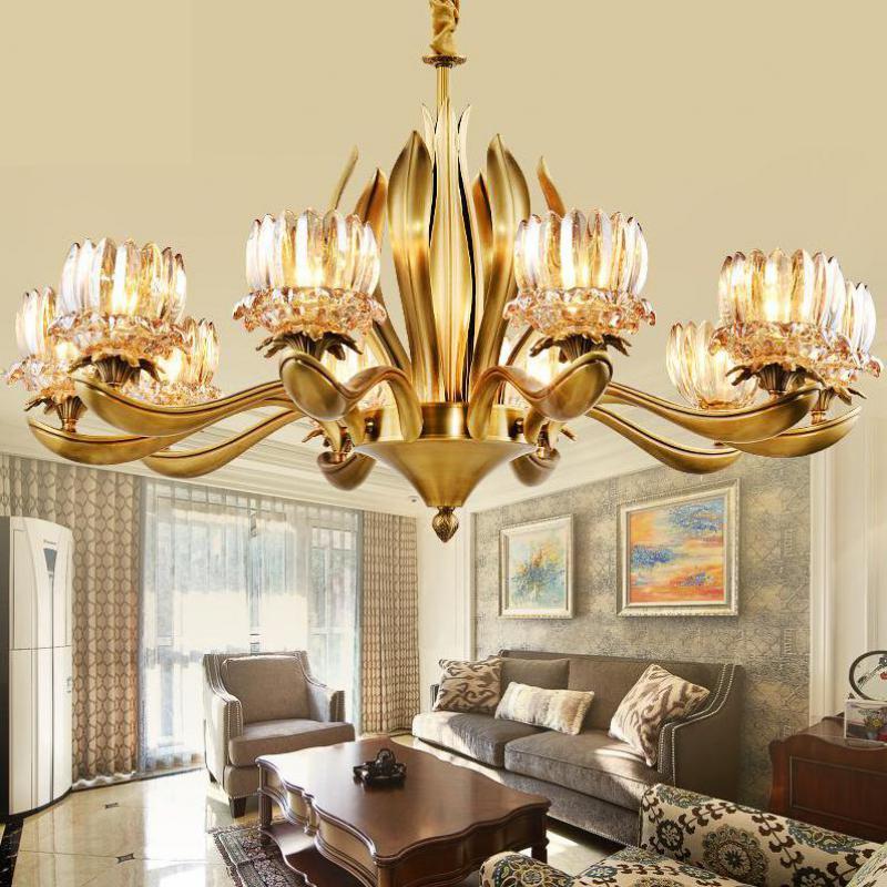 Candelabro de estilo italiano de gran iglesia, accesorios de Hotel, iluminación, decoración de boda, suspensión Lámpara de cobre, candelabros de cristal