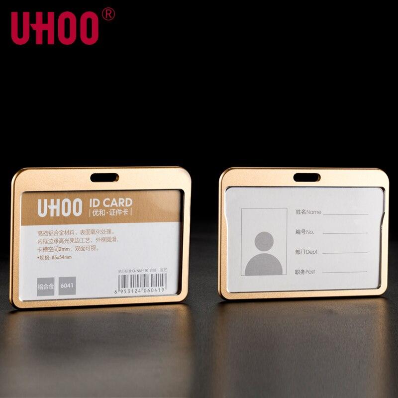 UHOO 6041, portatarjetas de identificación de trabajo de negocios de aleación de aluminio de calidad, soporte para tarjetas de exposición, portatarjetas doradas y plateadas