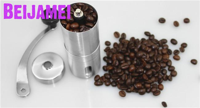 BEIJAMEI Mini Manual Coffee Grinders Stainless Steel Adjustable Coffee Grinding Mill Easy Cleaning