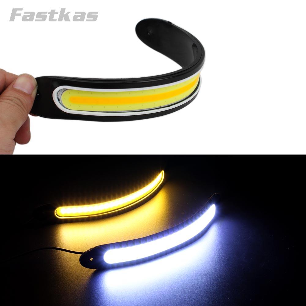 Luz Diurna LED DRL Flexible para coche, luz diurna impermeable COB de Color blanco, luz diurna + luz amarilla ColoFog, señal de giro de 12v 20w