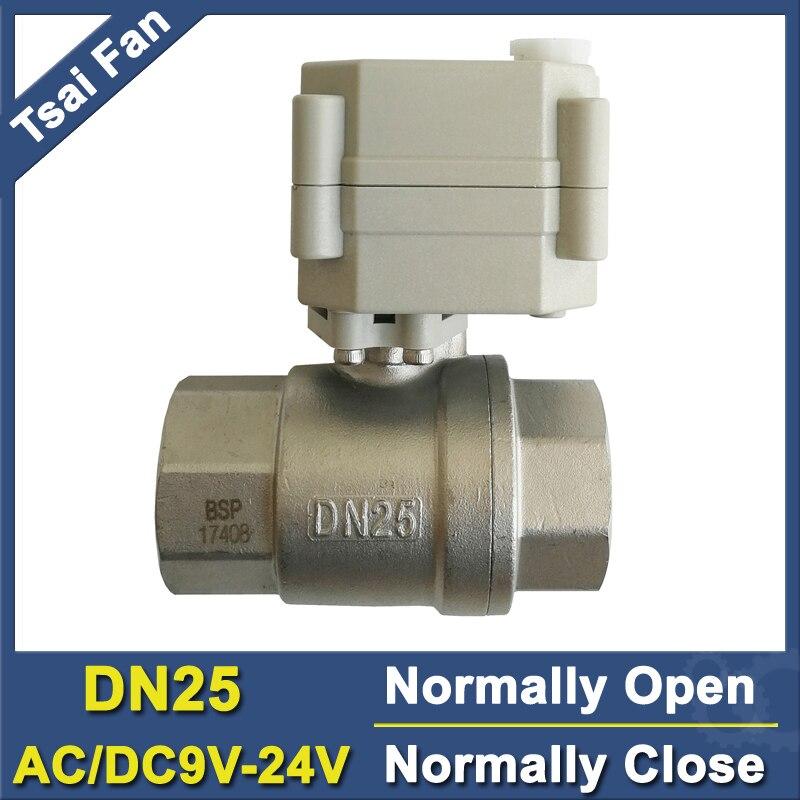 """Válvula eléctrica de 1 """"BSP/NPT de acero inoxidable, normalmente abierta/cerrada con anulación Manual DC/AC9V-24V, 2 cables TF25-S2-B puerto completo DN25"""