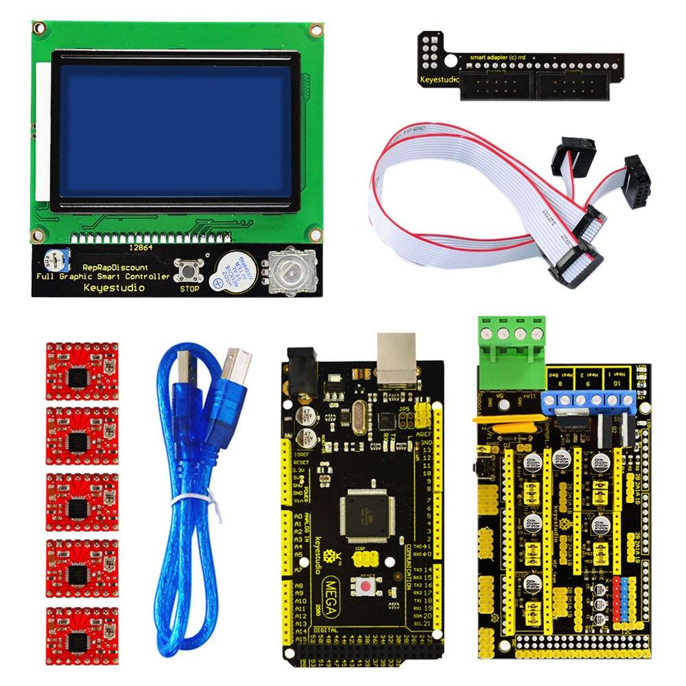 ¡Envío gratis! Kit de impresora keyesstudio 3 D rampas 1,4 + Mega 2560 + controlador de motor 5xA4988 + controlador de 12864 LCD