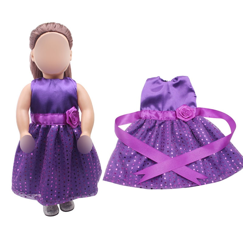 18 inch Girls doll dress Purple sparkling cocktail evening gown American new born clothes Baby toys fit 43 cm baby c368