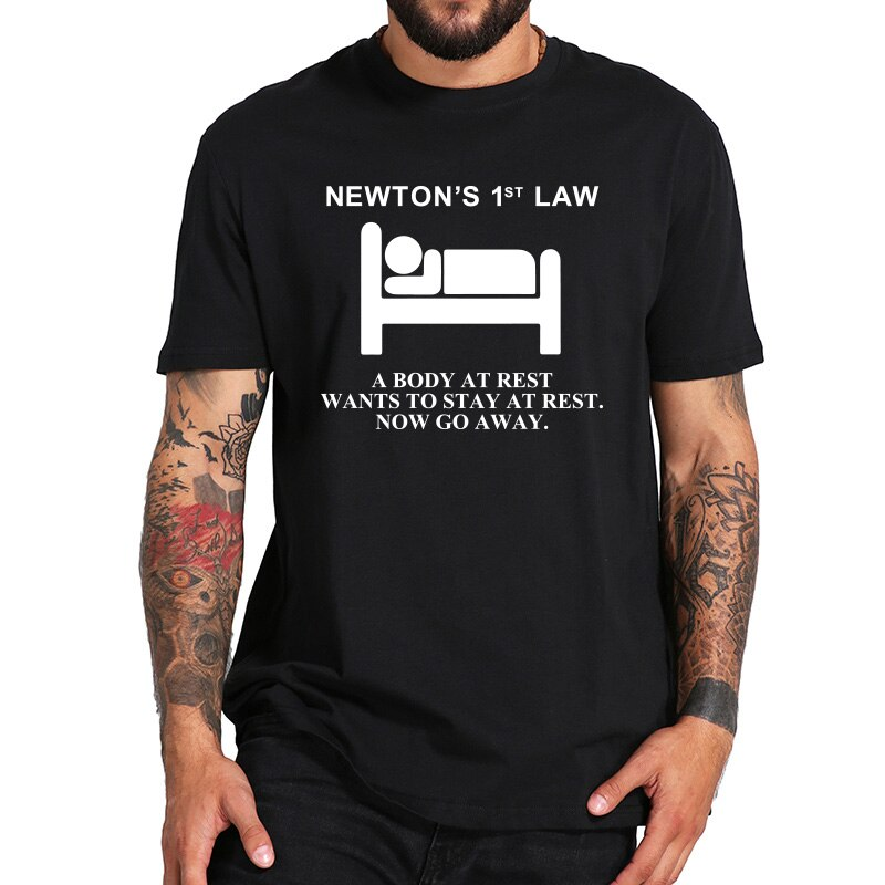 Футболка с надписью «Newton's First Law», «Physical Nerd A Body At Rest», футболка из 100% хлопка, европейский размер