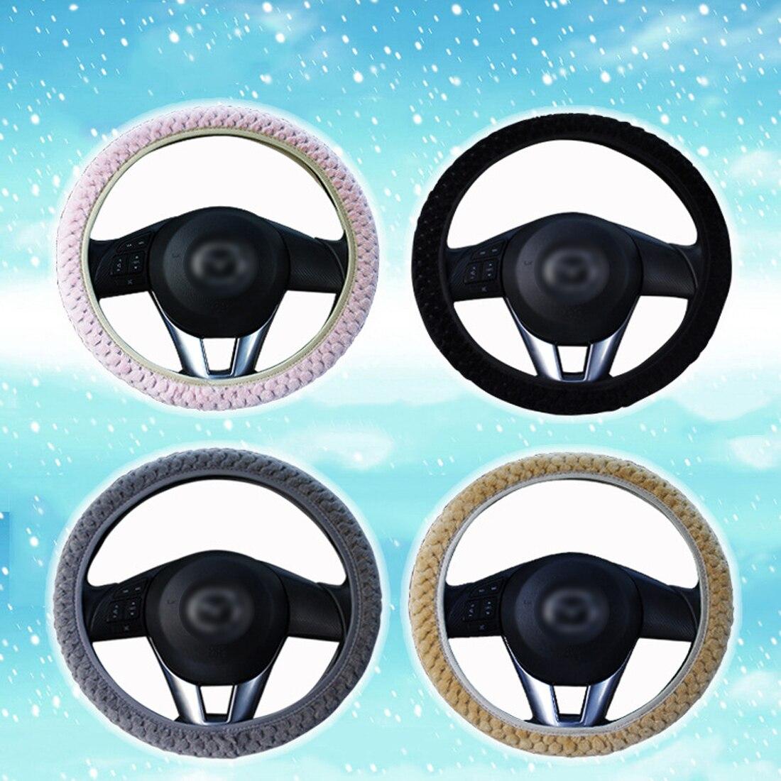 Dewtreetali New Pearl velvet Winter Car Steering Wheel Cover Universal Soft Warm Plush Covers for steering women car interior