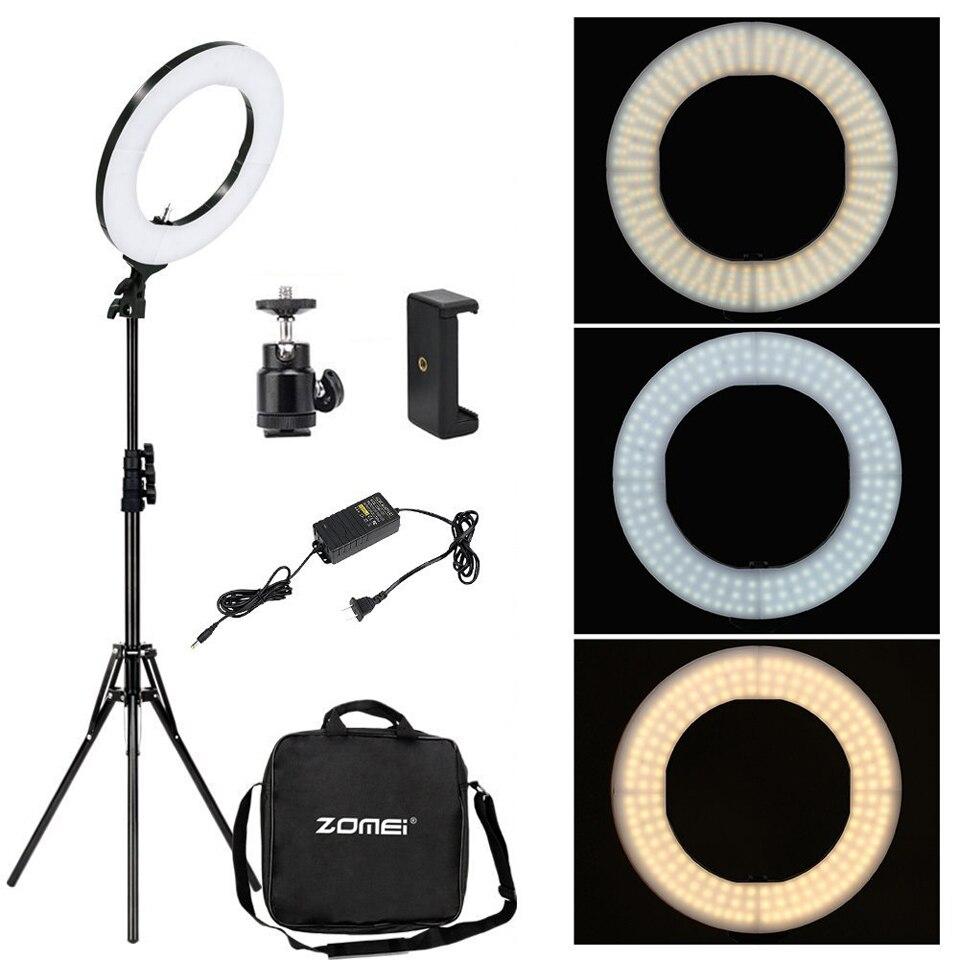 Cadoso regulable fotografía estudio fotográfico LED anillo luz lámpara 3200-5600K iluminación teléfono adaptador maquillaje para transmisión en vivo