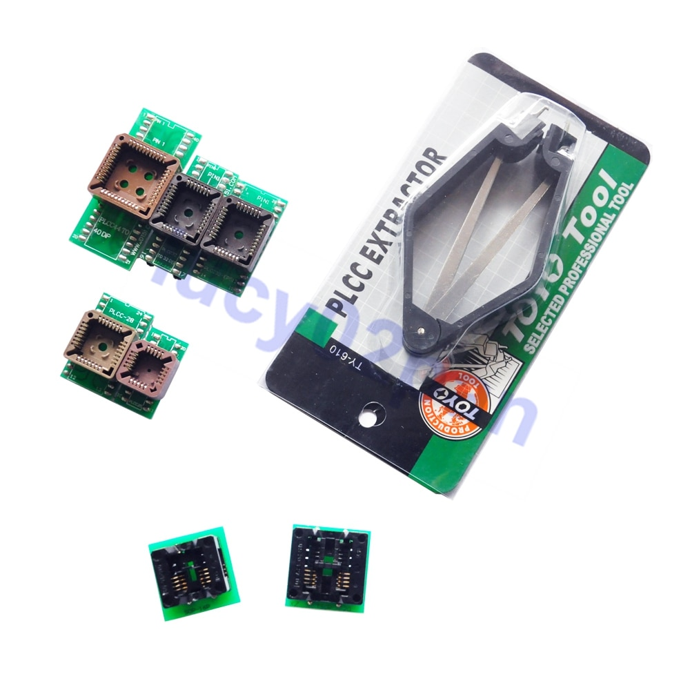 PLCC + SOP8-DIP8 IC Buchse + IC extractor,7PCS Programmierer Adapter Kit für TNM5000 /TL866 /Wellon /SOFI /USB Willem EPROM programmierer
