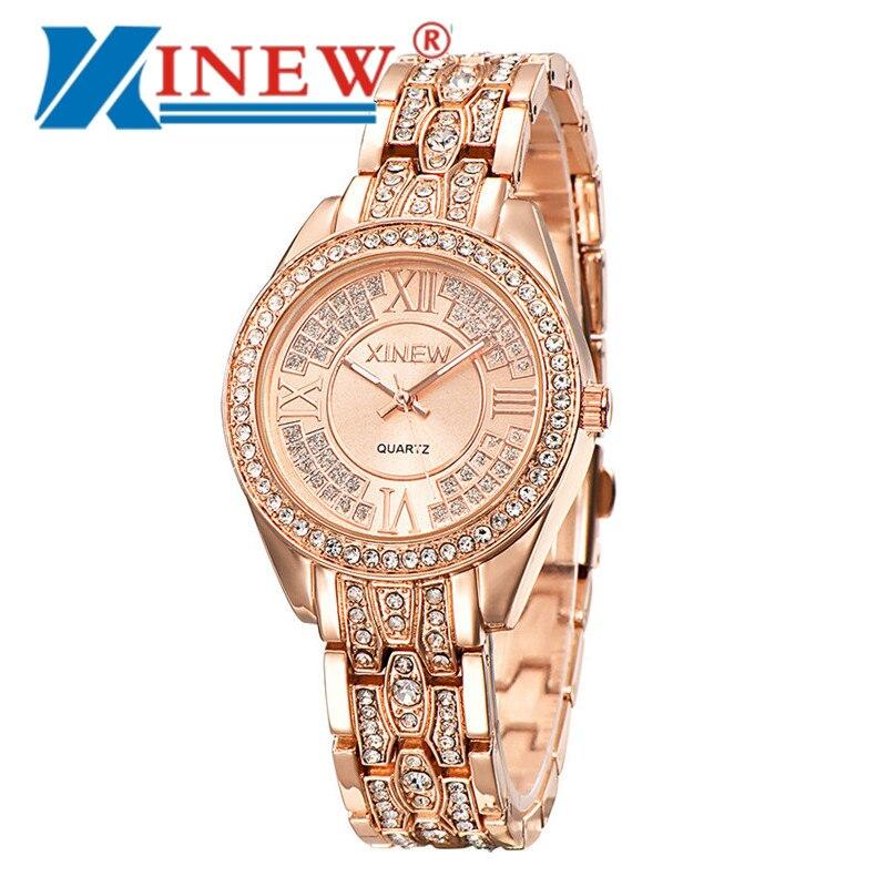 Reloj completo de diamantes de oro rosa romano, reloj de rol de chica, reloj de lujo resistente al agua para hombre, reloj de cuarzo Unisex Hublo * A