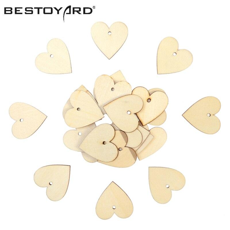 BSETOYARD en bois 25 pièces 40mm   Forme de cœur, embellissements, petite Mini forme pour la décoration artisanale