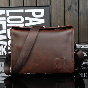 2016 new brand crazy horse leather Men's Briefcase bag Business Handbag,high quality Men Messenger Bag, men's travel bag 8133
