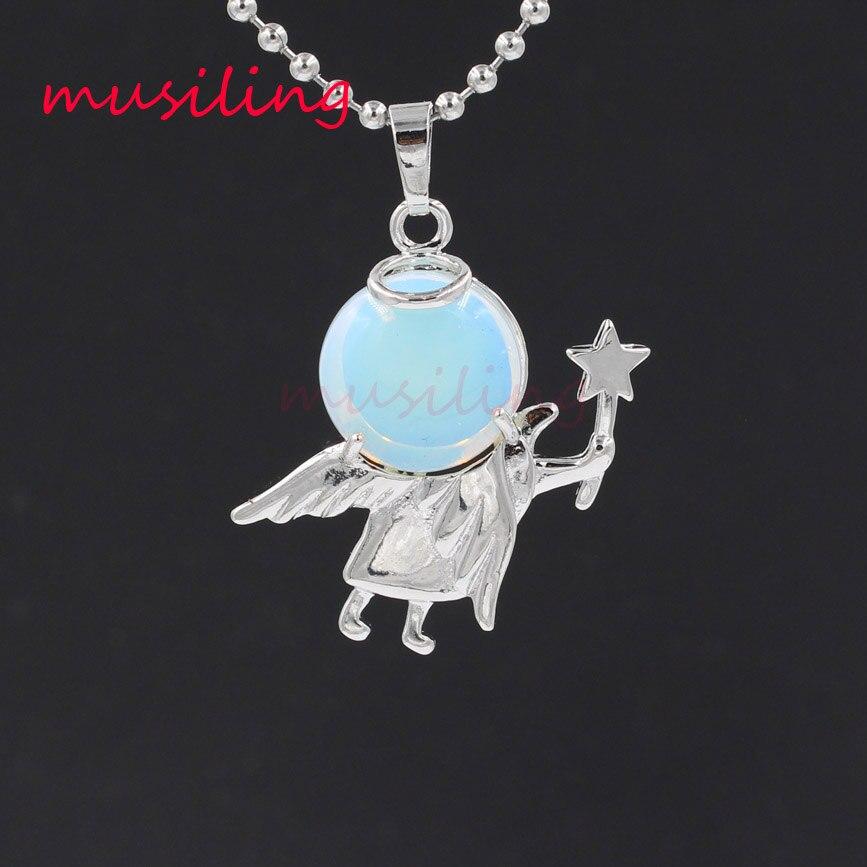 Bajki Cupid anioł wisiorki naszyjnik łańcuch wahadło kamień naturalny kryształ reiki Charms euroamerykańskiej modny biżuteria dla kobiet 1 sztuk