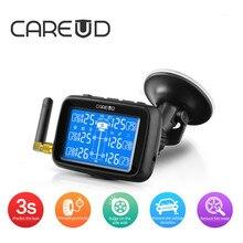 CAREUD U901 TPMS السيارات شاحنة سيارة نظام مراقبة ضغط الإطارات استبدال البطارية مع 6 أجهزة الاستشعار الخارجية شاشة الكريستال السائل