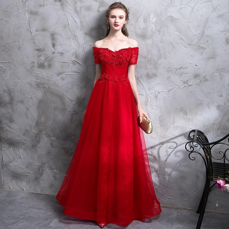 Beauty-Emily-فستان سهرة طويل مكشوف الكتفين ، دانتيل أحمر ، مزين بالخرز ، فستان رسمي ، تول ، حفلة موسيقية
