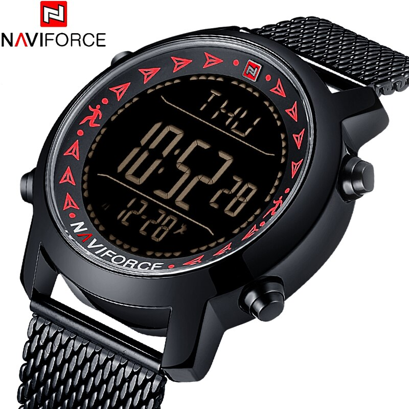 2018 New NAVIFORCE Brand Man's Watches Fashion Sport Casual Digital Quartz Watch Full Steel mesh Strap Waterproof 30M LED Watch