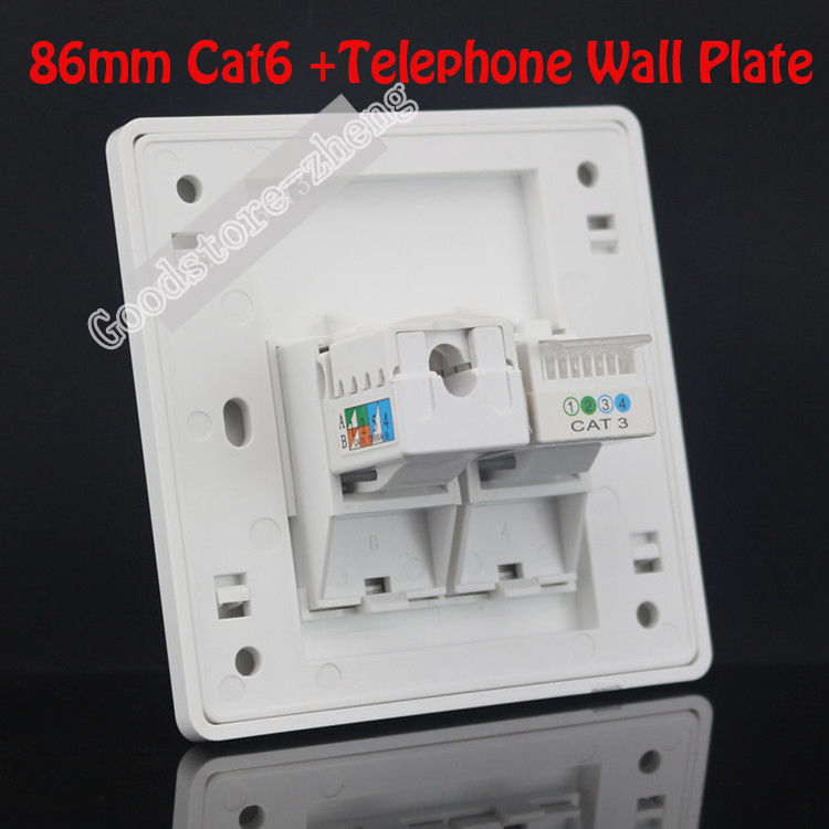 Placa de pared 2 puertos uno Cat3 RJ11 teléfono Telphone Socket + un Cat6 red LAN salida Panel Faceplate Home Plug venta al por mayor lotes