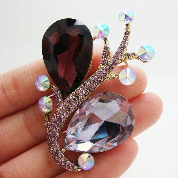 Broche de cristal Art Nouveau con diamantes de imitación de flor púrpura Retro único