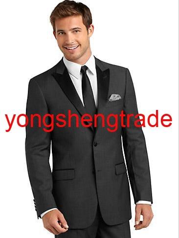 Traje de novio de nueva llegada, traje de boda para hombre, trajes personalizados de esmoquin PARA CENA (chaqueta + Pantalones + corbata) Gris 723