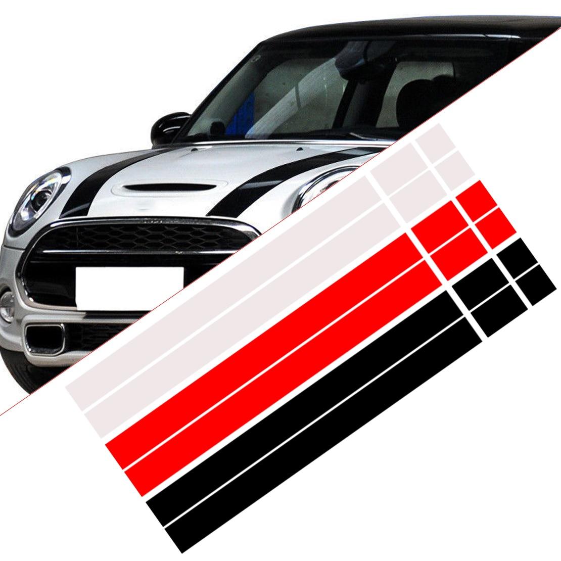 Beler 2 uds vinilo Bonnet rayas Hood pegatina calcomanía apta para MINI Cooper R50 R53 R56 R55 dWm2754536 negro/blanco/rojo