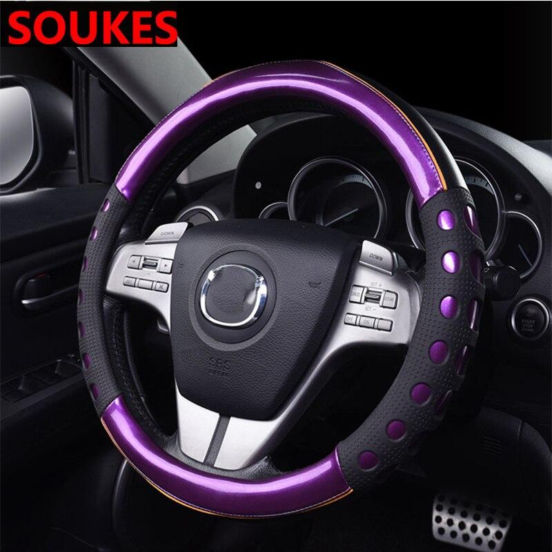 De cuero accesorios de coche volante cubierta del cubo de la rueda para Suzuki Swift Bmw F10 X5 E70 E30 F20 E34 G30 E92 E91 M x1 Volvo XC90 S60 V40