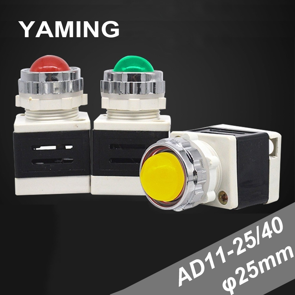 25mm LED Lamp Signal Pilot Lamp AD11-25/40 Power Indicator light AC/DC Red/Green/Yellow Button 24V/220V/380V (10PCS)
