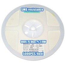 1 Reel 0805 75R 75 Ohm 1% 1/8W SMD Resistance 5000PCS/Reel