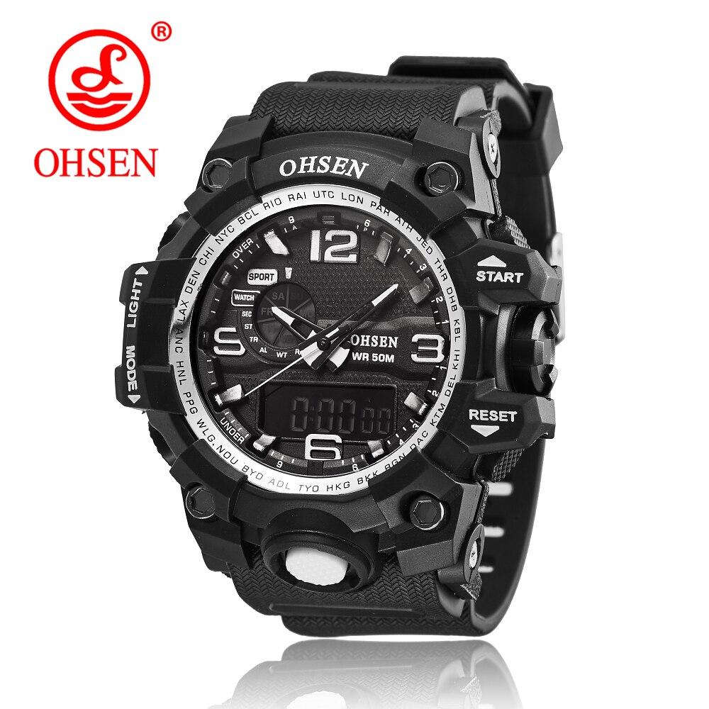 OHSEN Brand 2017 Top Deporte Nuevo Baratos Relojes Electrónicos Para Hombres Masculino Relogio Calendario Relojes Alarma De Silicona