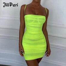 JillPeri Summer Neon Green Ella Violet Ruched Organza Mesh Mini Dress Sexy Sleeveless Slash Neck Bodycon Outfit Stretch Dress