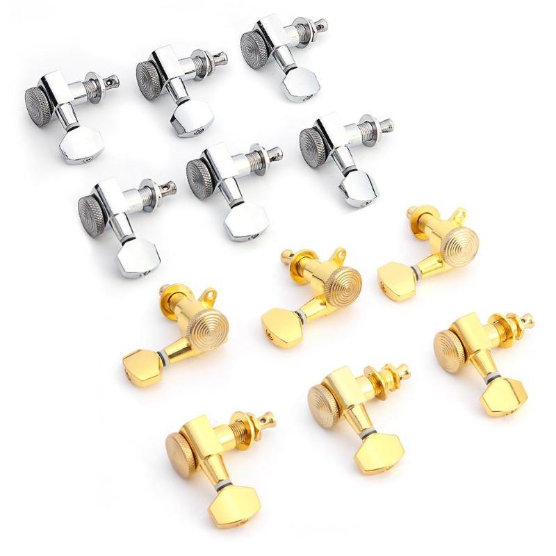 6 stücke 6R Gitarre Locking Tuners Elektrische Gitarre Mechaniken Mechaniken JN-07SP Lock Silber Tuning Pegs