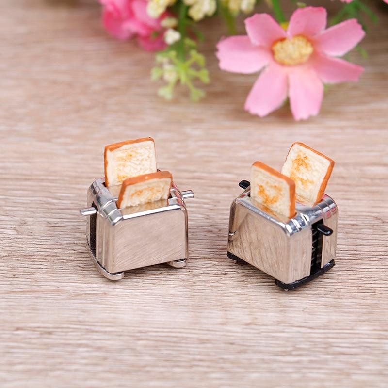Мини-машина для хлеба Dollhouse с тостом, аксессуары для миниатюрного кукольного домика, милый тостерный декор, 1/12 весы