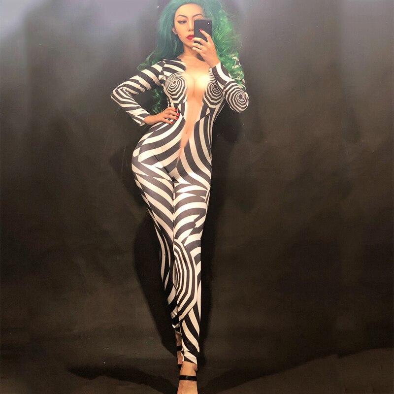 النساء المرحلة الجلد اللون بذلة 3D مطبوعة زيبرا نمط ارتداءها ملهى ليلي حزب احتفال راقصة المغني المرحلة ارتداء DNV10283