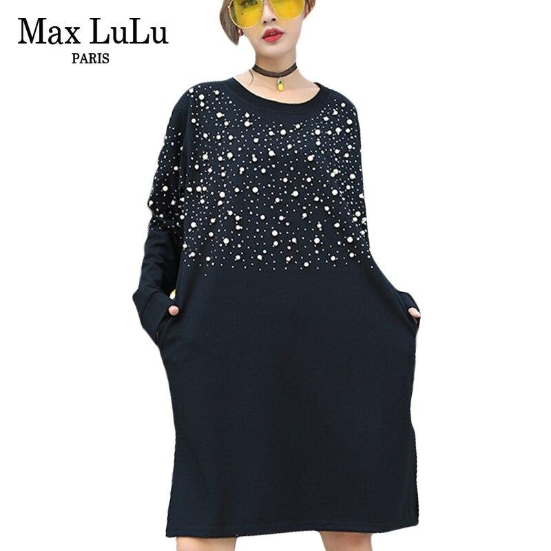 Max LuLu 2018, moda de primavera, estilos coreanos, niñas, ropa de perlas para mujeres, Vestidos de punto 3d de diamantes, vestido informal holgado Vintage para mujer