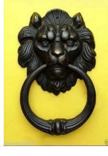 "decoration brass factory Pure Brass Antique Exquisite Chinese BRASS Fierce Lion Head Door Knocker 7""High"