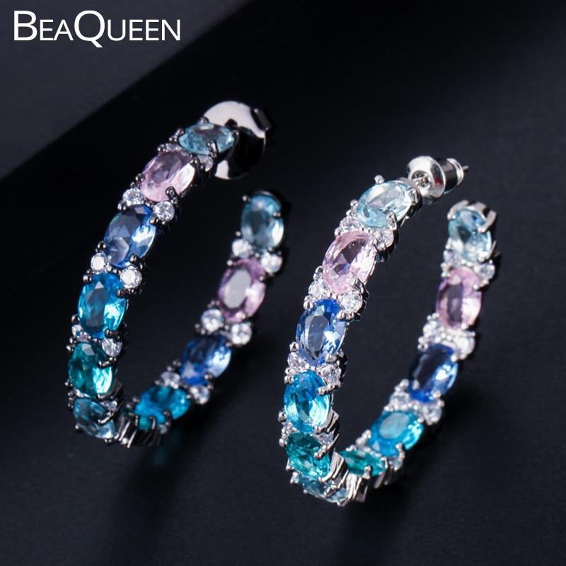 BeaQueen 新ビッグオーバルラウンドピンクブルーグリーン多色キュービックジルコニア虹クリスタルサークル女性ジュエリー E302