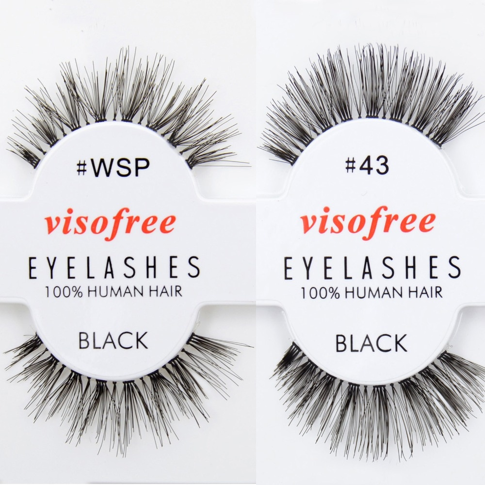 Livre DHL 120 pairs Visofree Wholsale Cabelo Humano Cílios Eye Lashes Preto