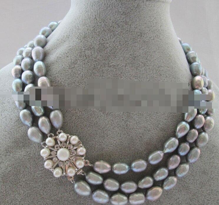 0773 3row natural gris barroco arroz forma de agua dulce collar de perlas