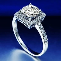 solid 18k white gold 1ct df color round brilliant cut moissanite ring lab diamond engagement ring national certificate for women