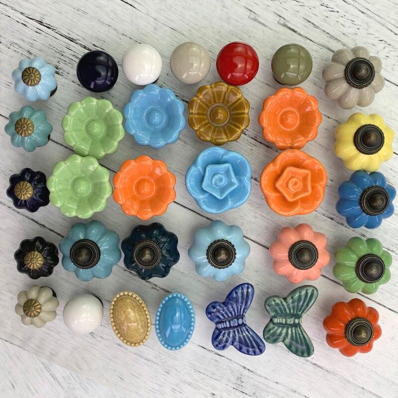 1x Cute Children Bedroom Porcelain Knobs Multi -Colored Drawer Dresser Kitchen Cabinet Pulls Handles Ceramic Funiture handware