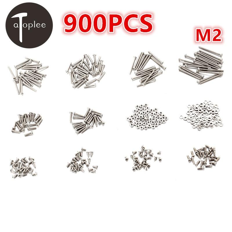 Top Quality 900Pcs/Set M2 Iron Phillips Head Screws+Nuts+Flat Gasket Set 3-25mm Screw Bolts Nuts Fastener Hardware Set