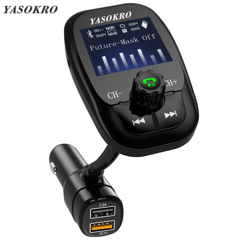 YASOKRO inalámbrico Bluetooth A2DP kit de manos libres para coche AUX Audio de coche MP3 Player FM Transmisor Dual USB cargador de soporte TF y disco de U