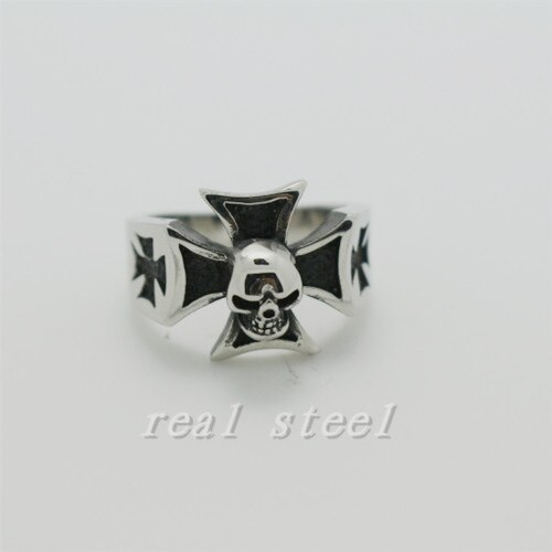 Nuevo diseño anillo de moda 316L Acero inoxidable Jesús negro Cruz anillo calavera anillos